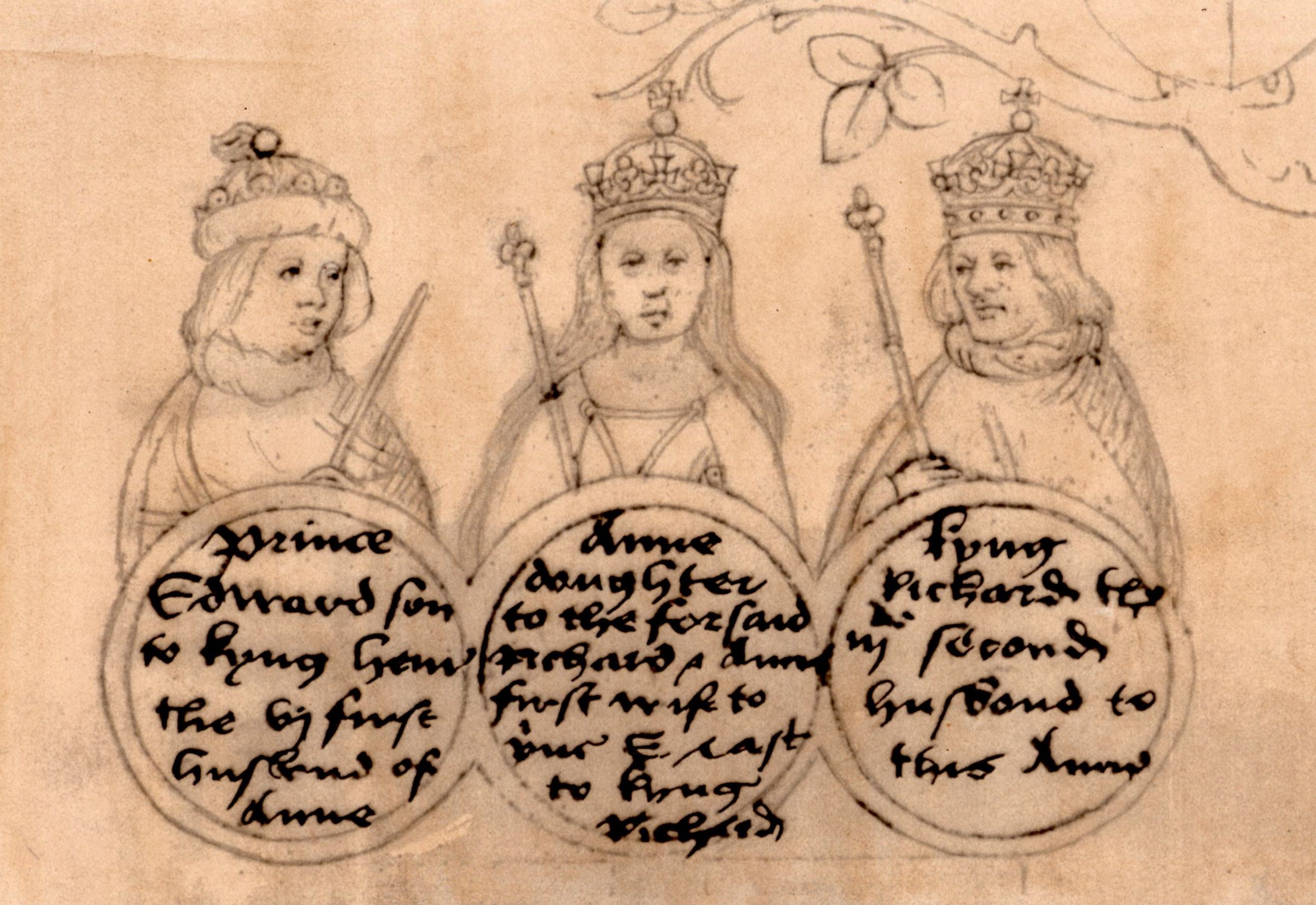 Anne Neville flanked by her two husbands from the Beauchamp Pageant