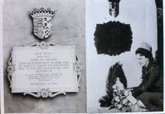 Isolde Wigram laying a wreath under the plaque commemorating Queen Anne in Westminster  Abbey